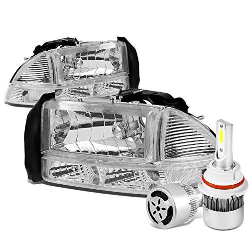 For Dodge Dakota/Durago 4Pc Pair of Chrome Housing Clear Corner Headlight + 9007 LED Conversion Kit W/Fan ()