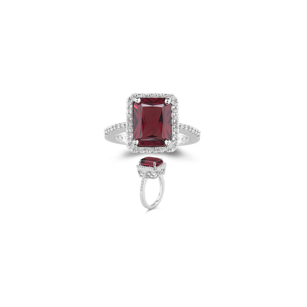 Cyber Monday Sale - 0.28 Cts Diamond & 3.50 Cts AAA Garnet Ring in 14K White Gold-8.5