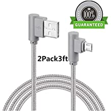 Micro USB 90 Degree Android Lightning Cable, VPR Right Angle USB to Micro USB Fast Charger Cord nylon braided for Galaxy S7/ S6/ S5/ Edge, Note 5/ 4/ 3, HTC, LG, Nexus and More (Grey2Pack3ft)