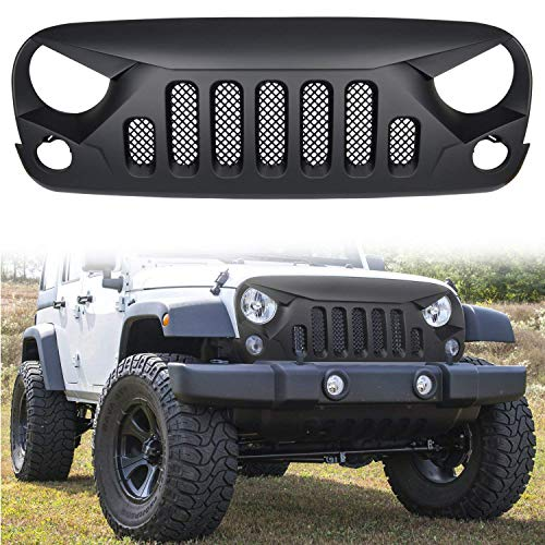 - MOEBULB Matte Black Gladiator Grille Front Grid Grill with Mesh Insert Compatible with 2007-2018 Jeep Wrangler JK JKU Rubicon Sahara Sport X Unlimited