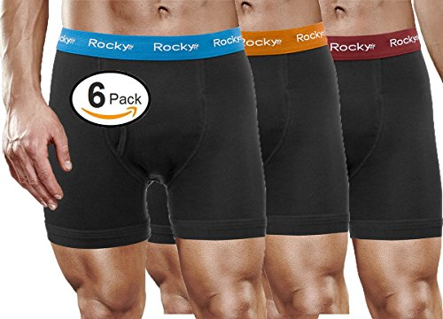 Rocky Men's 6 Pack Cotton Classic Boxer Briefs Soft Knitted Stretch Boxers by Rocky (2Xlarge, Black Multi Pack)