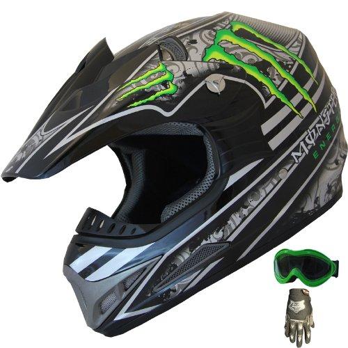 DOT Dirt Bike ATV Motocross Helmet Monster 405_162 Black/green + Goggles+Gloves (XL)