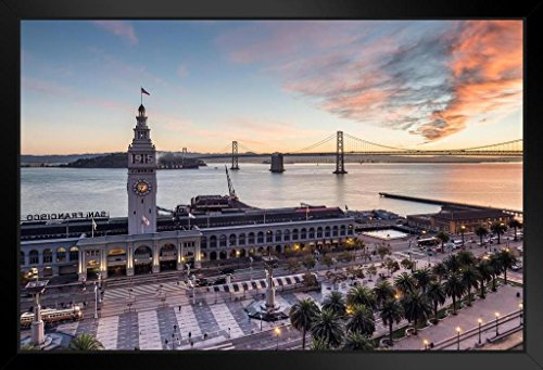 - Ferry Building Sunrise San Francisco California Photo Art Print Framed Poster 20x14 inch