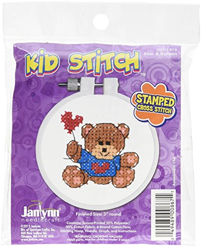 Janlynn 021-1815 Kid Bear & Balloon Stamped Cross Stitch Kit