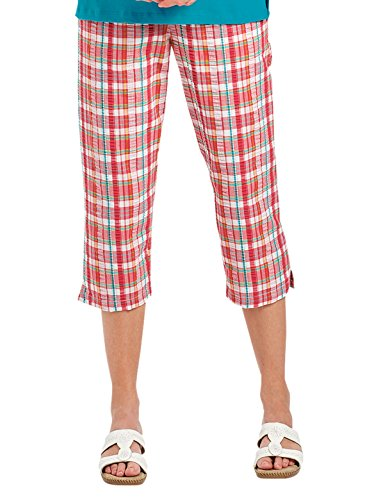 Seersucker Plaid Capri, Color Coral, Size Extra Large (2X), Coral, Size Extra Large (2X) ()