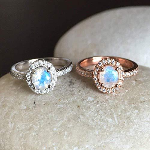 Moonstone Rose Ring - Rainbow Moonstone Engagement Ring- Moonstone Promise Ring- Rose Gold Moonstone Ring- June Birthstone Ring- Classic Anniversary Ring