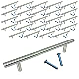 """contemporary kitchen cabinets Swiss Kelly Satin Nickel Kitchen Cabinet Bar Pull Drawer Handle (25 Pack, L: 7"""" CC: 5"""")"""