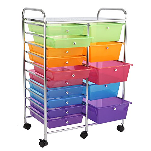 finnhomy 15 drawer rolling cart storage rolling carts with semi transparent mut 613706204841 ebay. Black Bedroom Furniture Sets. Home Design Ideas