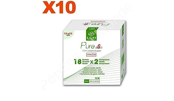 Compresas de gasa estéril 12 capas, 7,5 x 7,5 cm – juego 10 ...