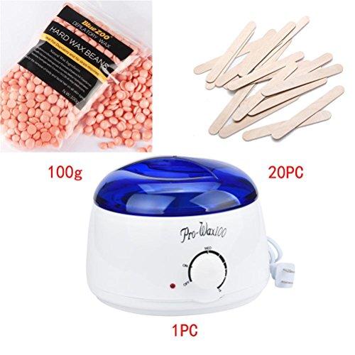 Sinwo Hair Removal Bean Wiping Sticks Hot Wax Warmer Heater Pot Depilatory Set Hair Removal Set Easy Quick (D)