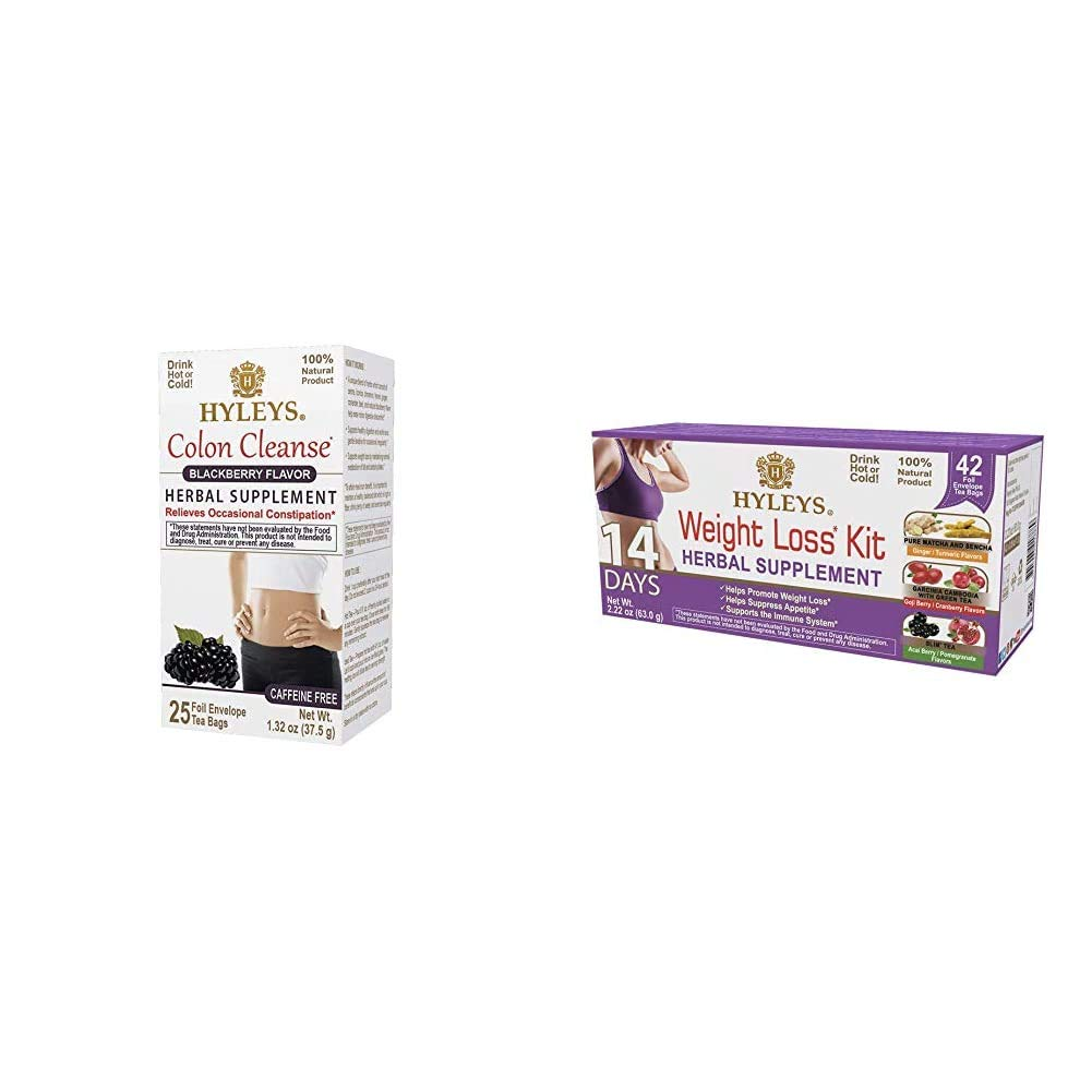 Hyleys Wellness Colon Cleanse BlackBerry - 25 Tea Bags (100% Natural, Sugar Free, Gluten Free and Non-GMO) & Hyleys 14 Days Weight Loss Kit - 42 Tea Bags (100% Natural, Sugar Free, Gluten Free)