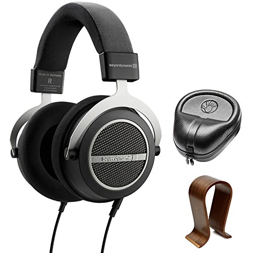 BeyerDynamic Amiron Home Tesla High-End Audiophile Stereo Headphones 250 OHM (717525) with Slappa HardBody PRO Full Sized Headphone Case Black & Universal Wood Headphone Stand by beyerdynamic