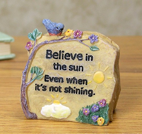 BANBERRY DESIGNS Believe Polystone Message Rock Decorative Stone Potted Plant Decor Desk Paper Weight Decoration - Message Engraved With: Believe in the Sun Even When It's Not Shining - 2.5 Inch