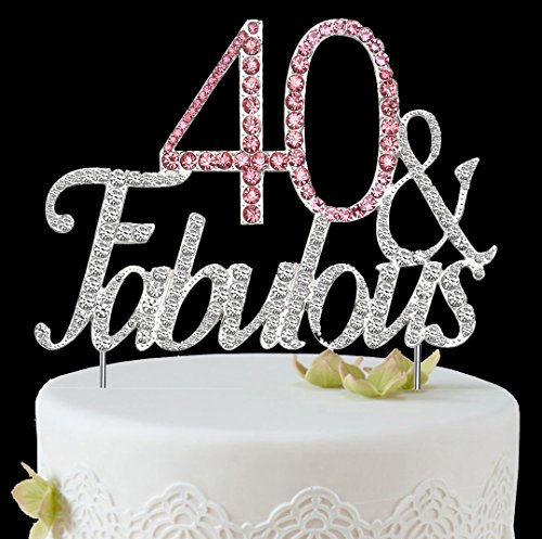 BABEYOND 40 & Fabulous Rhinestone Crystal Happy Birthday Decoration Cake Topper Pick for Birthday Party Supplies (40yrs-silver) ()