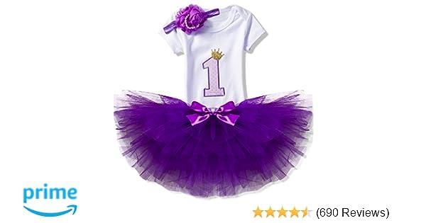 4d53aade40f57 NNJXD Girl Newborn 1st Birthday 3 Pcs Outfits Romper+Tutu Dress+Headband
