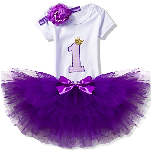 NNJXD Girl Newborn Crown Tutu 1st Birthday 3 Pcs Outfits Romper+Dress+ Headband Size (1) 1 Year Purple