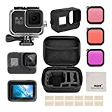 Deyard Accessories Kit for GoPro Hero 8 Black with Shockproof Small Case + Waterproof Case + Tempered Glass Screen Protector + Silicone Cover + Lens Filters + Anti-Fog Inserts Bundle for GoPro Hero 8 Black