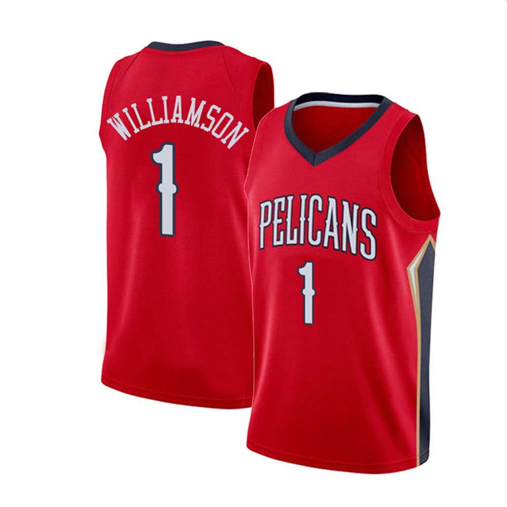 CYGG New Orleans Pelikane Zion Lateef Williamson # 1 Trikot Basketball f/ür M/änner und Unisex-K/örbchenanzug T-Shirt Gen/ähte Buchstaben rot Klassisches /ärmelloses Set