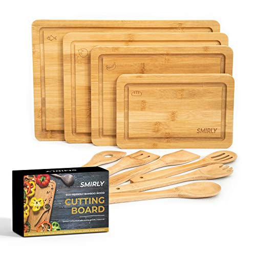 Smirly Bamboo Cutting Board for Kitchen: Set of 4 Butcher