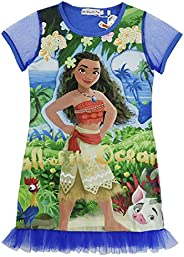 Indepence Life Girls' Moana All of The Ocean Short Sleeve Nightdress with Lace for 4-9Years G