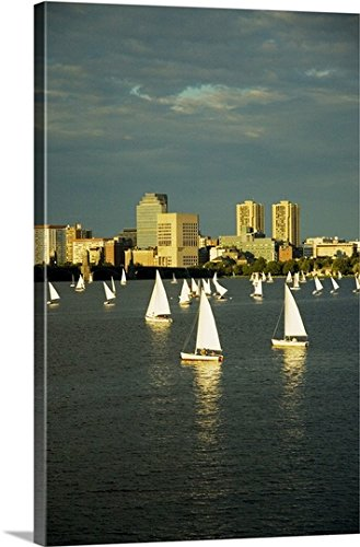 mium Thick-Wrap Canvas Wall Art Print entitled Sailboats in a river, Charles River, Boston, Massachusetts 16