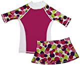 grUVywear Girls Short Sleeve UPF 50+ Rash Guard and Bikini Skirt Swimsuit Set - A Dot to Love | 7-8