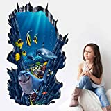 kids wall decals sharks - CNUSER 3D Space Wall Decals Sea World Floor Stickers, For Kids Room Bathroom Removable Decoration Home Decor Sticker