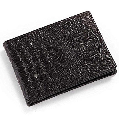 - Prime Clearance Sale & Deals Day 2017-Genuine Leather Bifold Driver's License Holder Crocodile Credit Card Case(Black)