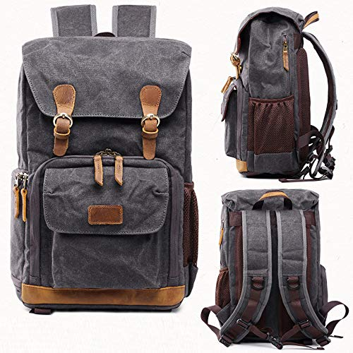 Hot Premium Vintage Photography Backpack Waterproof Photography Canvas Bag (Gray)