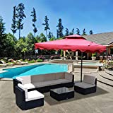 U-MAX 7 PCS Outdoor Patio Garden Furniture PE Rattan Wicker Sofa Sectional with Tea Table Conversation Sets