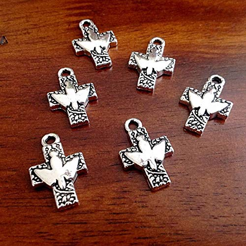 World's Natural Treasures 12pcs, Cross Charms, Dove Charms, Antique Silver Charms, Cross with Dove Charms, Armor of God Charm, Craft and Jewelry Supplies, Findings