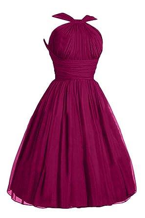 WenSai Pleated Chiffon Prom Dress A-Line Short Bridesmaid Dresses Fuchsia us2