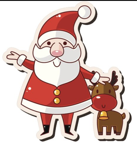 JOLLY SANTA CLAUS ST NICHOLAS NICK CHRISTMAS EVE HOLIDAY ICON 4 WITH RUDOLPH REINDEER RED WHITE GOLD BLACK BROWN Vinyl Decal Sticker Two in One Pack (4 Inches Tall)