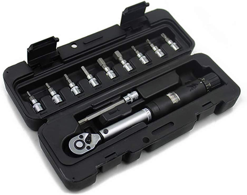 llaves manuales POFET Juego de llaves dinamom/étricas para bicicleta 1//4 DR 2-14Nm Kit de herramientas de reparaci/ón de carraca mec/ánica