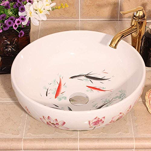 Yadianna 手作りの中国芸術アート洗面台セラミックカウンタートップバスルームのシンクラウンド魚パターンセラミック洗面台のバスルームシンク