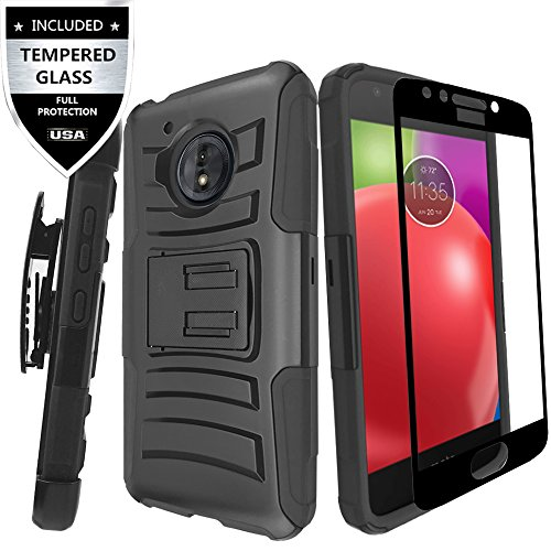 Moto E4 Plus Case With Tempered Glass Screen Protector,IDEA LINE Heavy Duty Armor Shock Proof Dual Layer Holster Locking Belt Swivel Clip with Kick Stand - Black