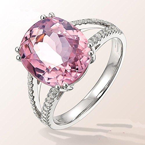 A.Minnymin Oval Simulated Pink Tourmaline Cubic Zirconia Rings 925 Silver Jewelry Size 6-10 (8)