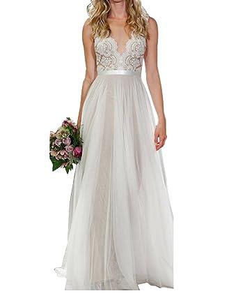Women Deep V Neck Sleeveless Casual Backless Lace Maxi Dress Evening Party Wedding Bridesmaid Prom Dress: Amazon.co.uk: Clothing