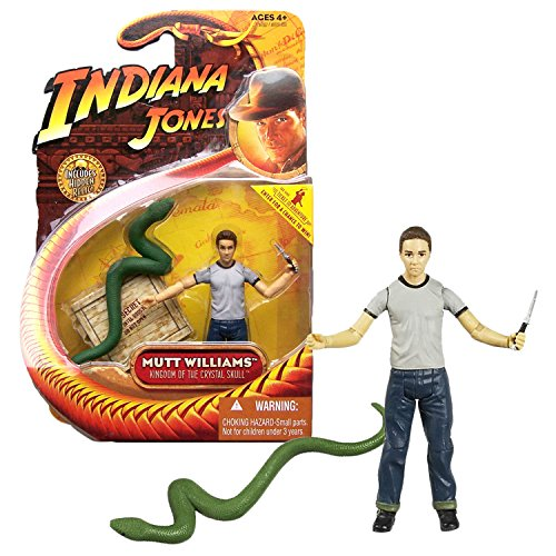Indiana Jones Hasbro Year 2008 Movie Kingdom of The Crystal Skull Series 4 Inch Tall Action Figure - MUTT Williams in T-Shirt with Dagger Knife Plus Green Snake and Hidden -