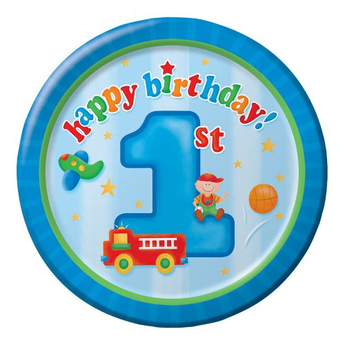 8-Count Round Paper Dinner Plates, Fun at One Happy First Birthday Boy