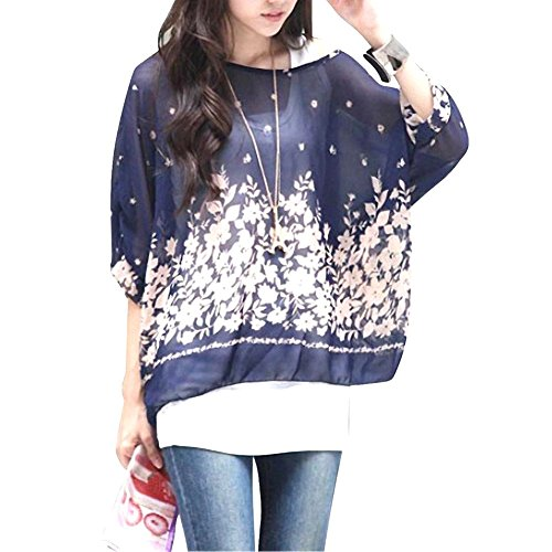 Sexy Bohemian Hippie Batwing Sleeve Chiffon Blouse Loose Off Shoulder Shirt Top One Size Color-10 ()