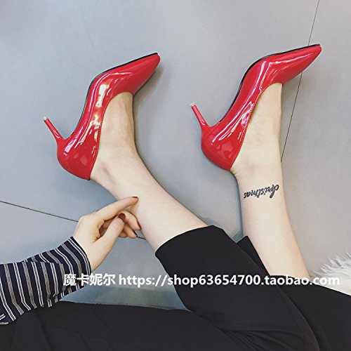 Single 5Cm centimeters Heels High 5 Red and AGECC Pointed Shallow Shoes Lacquer awUqFUd