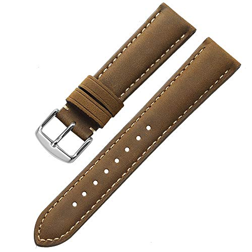 iStrap Genuine Calf Leather Watch Band Grain Padded for Men Women Color & Width (18mm,19mm, 20mm,21mm,22mm or 24mm) Silver Black ()