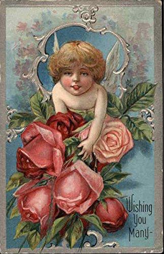 Wishing You Many with Cherub & Roses Birthday Original Vintage Postcard