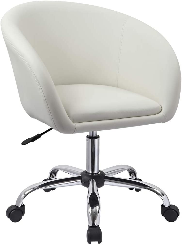 Duhome Luxury PU Leather Contemporary Salon Stool with Wheels Home Office Chair Round Swivel Accent Chair Tufted Adjustable Lounge Pub Bar (White)