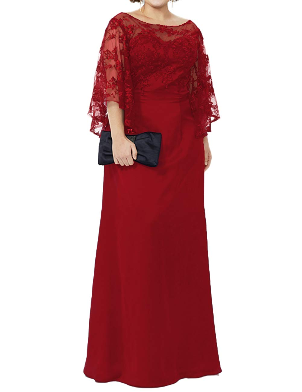 Mother of The Bride Dresses Plus Size Evening Gowns Lace Long Formal Gowns  and Evening Dresses Floor Length Dark Red