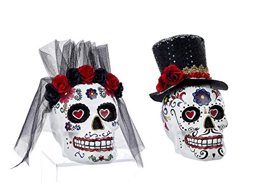 K. Adler Mr. & Mrs. Sugar Skull Day of The Dead Groom and Bride 6 x 8 Inch Figurines Set of 2]()
