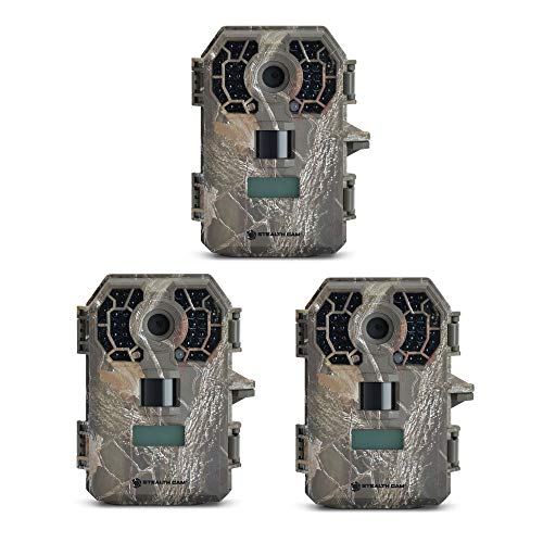 Stealth Cam 10 MP HD Video Infrared No Glow Hunting Scouting Game Trail Camera (3 Pack)