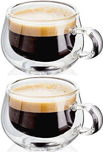 Judge JDG25 Double Walled Glass Small Coffee Cups with Handle, Set of 2 Hollow Vacuum Sealed 75ml Espresso Cup, Hand Made, Heat Resistant, Dishwasher Safe
