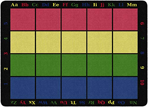 Flagship Carpets FE126-32A Learning Grid Children's Classroom Seating Rug (Seats 20), 5'10